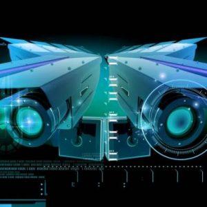 Imagen futurista de cámaras de seguridad